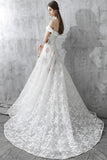 Princess White Off the Shoulder Lace A Line Wedding Dress OK637