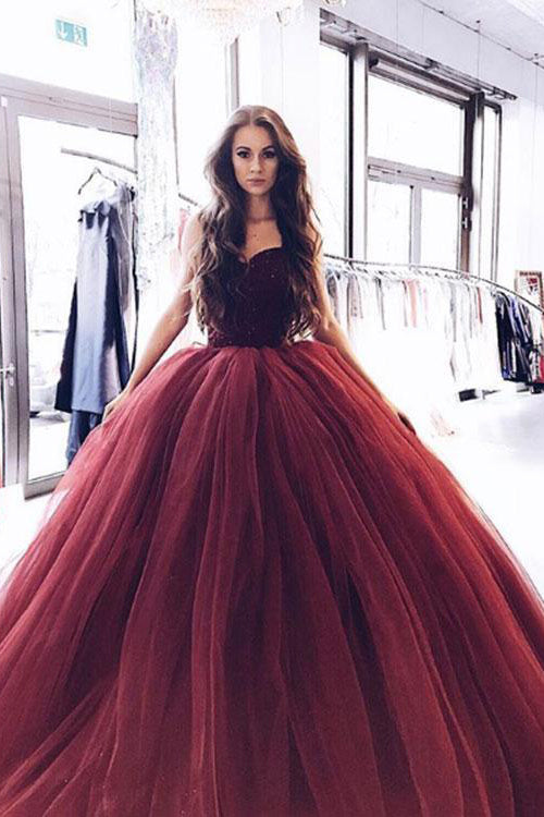 Princess Prom Dresses,Burgundy Prom Gown,Strapless Prom Dress,Ball Gown Prom Dress