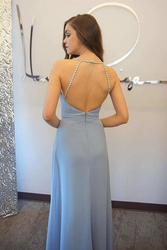 Sexy Blue Open Back Chiffon Long Prom Dress,Simple Sleeveless Evening Dress OK684