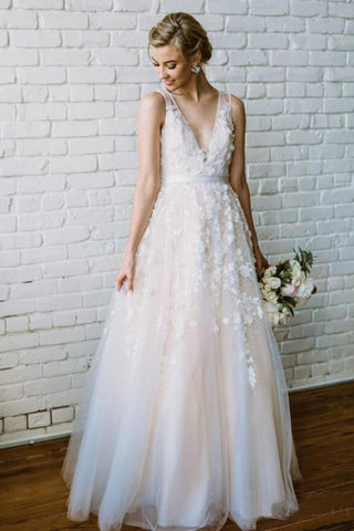 Simple Lace Applique A Line V Neck Tulle Beach Wedding Dress OKF86