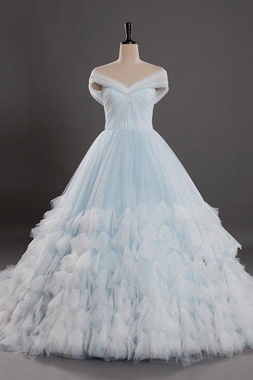 Light Blue Off the Shoulder Tulle Ball Gown Prom Dresses Quinceanera Dresses OKV3