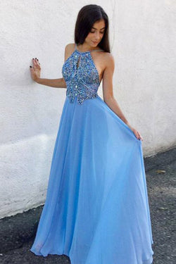 Unique Prom Dresses,Beading Prom Gown,Chiffon Prom Dress,Blue Prom Dresses