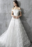 Princess Wedding Dress,White Wedding Dress,Off the Shoulder Wedding Gowns,Lace Wedding Dresses,Long Wedding Dress,A Line Bridal Gown