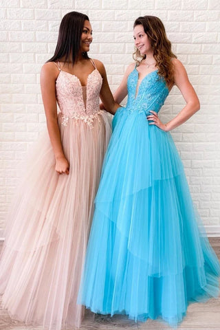 A-line Spaghetti Straps Lace Appliques Long Prom Dresses Tulle Evening Dress OKT18