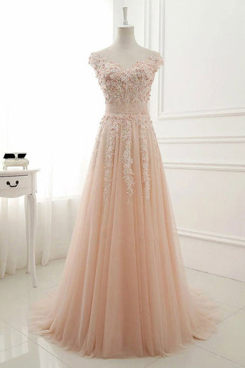 Pink Prom Dresses,Round Neck Prom Gown,Lace Appliques Prom Dresses,Tulle Evening Dress, Long Prom Dress,A Line Evening Gown