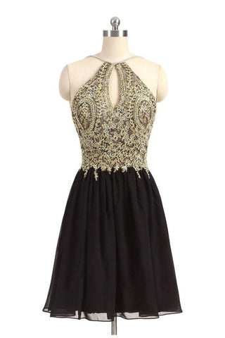Black Homecoming Dresses,Gold Beads Homecoming Dress,Beaded Prom Dresses,Halter Prom Dress,Short Prom Dress,Backless Homecoming Dresses,Beading Homecoming Dress