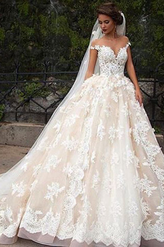 Romantic Jewel Cap Sleeves Ball Gown Wedding Dress with Lace Top OKB09