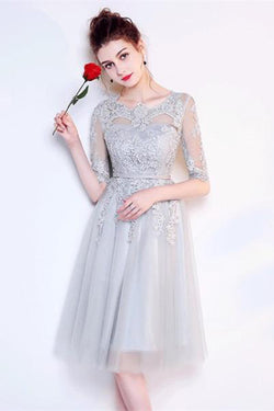 82098d41262 A-line Gray Half Sleeves Knee Length Tulle Lace Homecoming Dresses OKA72