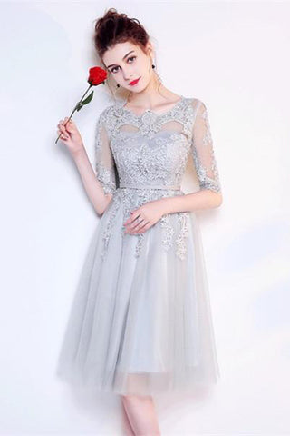 A-line Gray Half Sleeves Knee Length Tulle Lace Homecoming Dresses OKA72
