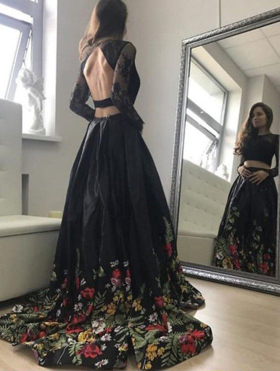 Two Piece Lace Top Floral Black Long Sleeves Satin Prom Dress with Appliques OKA4