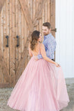 Long Beaded Bodice V-neck Neckline Chiffon Pink Prom Dress Formal Dresses OKS7