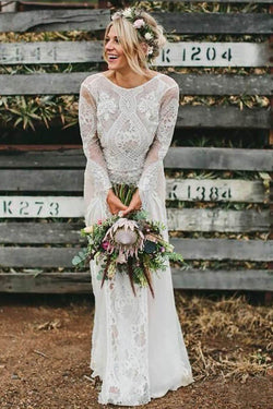 Long Sleeve Ivory Lace See Through Backless Beach Boho Wedding Dresses OKF81