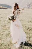 A Line Long Sleeve Lace Appliqued Ivory Beach Wedding Dress OKF83