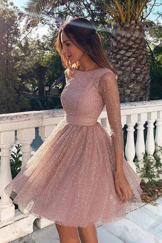 Pink Sequins Long Sleeve Short Homecoming Dresses Backless Formal Dress OKO7