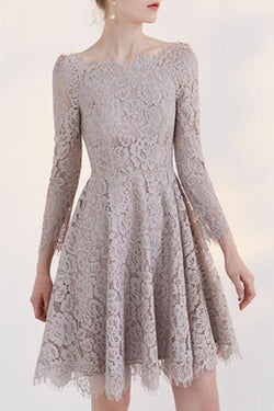 Long Sleeve Homecoming Dress,Lace Homecoming Dress,Short Prom Dresses,A line Homecoming Dress,Graduation Dress,Homecoming Dresses For Teens,Homecoming Dresses 2017