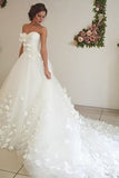 Adorable Sweetheart Tulle A Line Court Train Off White Wedding Dress with Flower OKB07