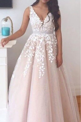 Elegant A-line Long V-neck Long Pink Lace Appliques Wedding Dress OK678