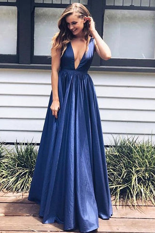 Sexy Prom Dresses,Taffeta Prom Gown,V Neck Prom Dress,Long Prom Dress