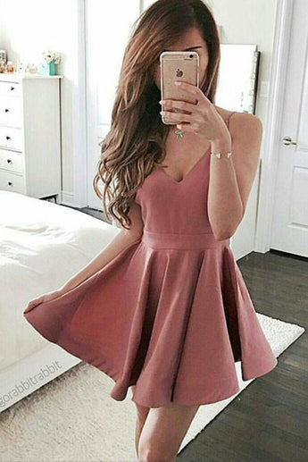 Cute Homecoming Dress,Blush Pink Homecoming Dress,Short Prom Dresses,A line Graduation Dress,Lovely Girl Party Dress