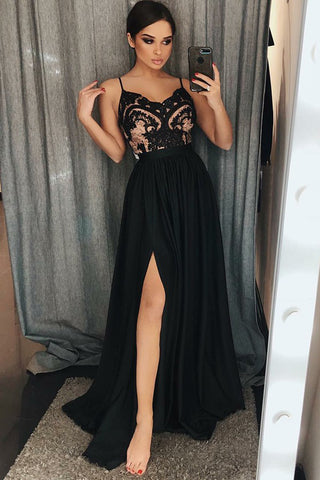 Unique A-Line Spaghetti Straps Black Split Long Prom Dress with Lace OKA87