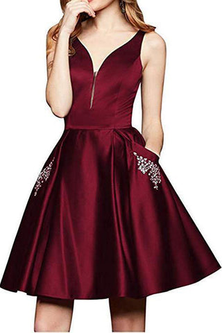 Maroon Short A Line Beading Homecoming Dresses with Pocket OKO12