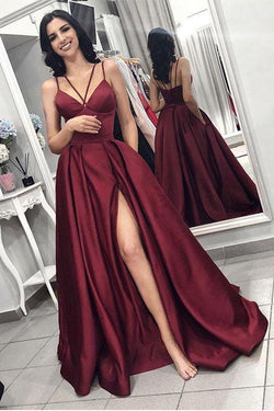 Maroon Spaghetti Straps Side Slit Long A Line Elegant Evening Prom Dresses OKI58