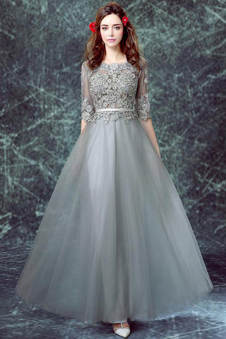 Grey Prom Dresses,Half Sleeve Prom Gown,Tulle Prom Dress,A line Evening Dress