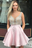 A Line V Neck Sleeveless Homecoming Dress, Beading Satin Short Prom Dresses OKN41