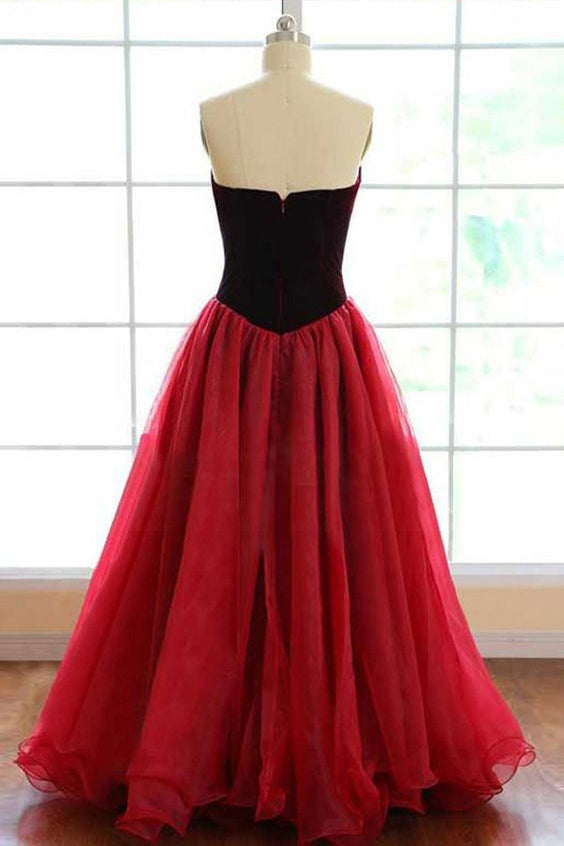 Elegant Strapless A-line Long Burgundy Tulle Prom Dress A Line Evening Dress OK769