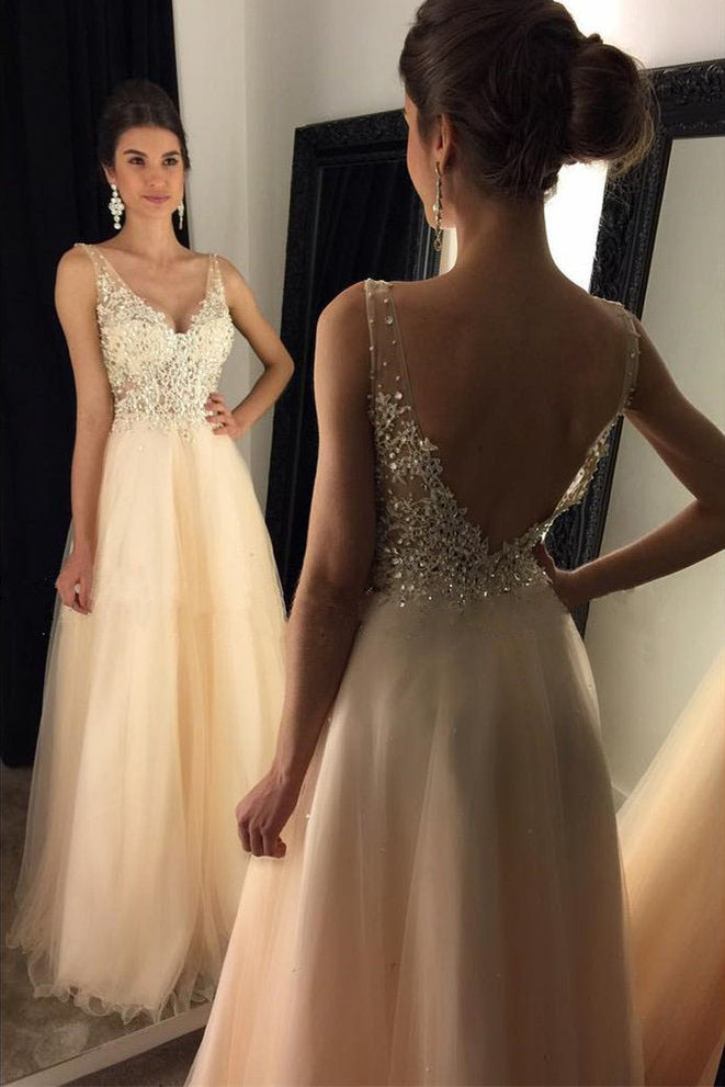 2018 V-Neck Beaded Long A-line Tulle Backless Prom Dresses With Appliques OK812