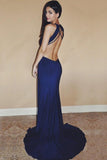 Sexy Royal Blue Chiffon Sweep Train Split Front Long Prom Dresses OK697