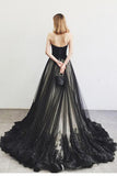 Charming A-Line Sweetheart Strapless Black Long Tulle Prom Dress With Lace Beading OK834