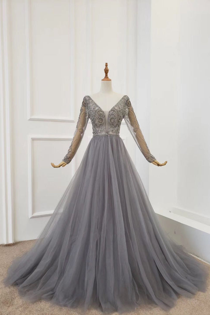A Line Long Sleeves V Neck Grey Beading Prom Dresses OKS91