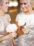 Sexy Short Sleeves Sequins Bling Long Bridesmaid Dresses 2017 OK114