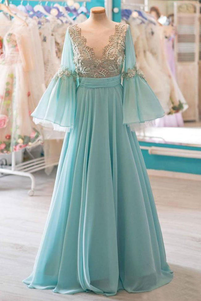 Modest A-line Chiffon Long Prom Dresses With Flare Sleeves OKK56