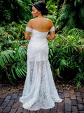 Sweetheart Sheath Lace Bridal Dress Beach Wedding Dresses With Slit OKP93