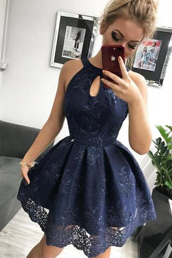 Navy Blue Lace Homecoming Dress, Simple Sleeveless Short Party Dresses OKM34