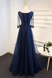 Navy Blue Tulle A-line Flower Appliques Prom Dress With Sleeves,Long Formal Evening Dress OKA28