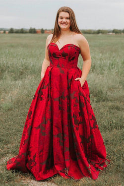 93371deea6d New Arrival Burgundy Sweetheart Floral Long Plus Size Prom Dresses with  Pockets OKH67