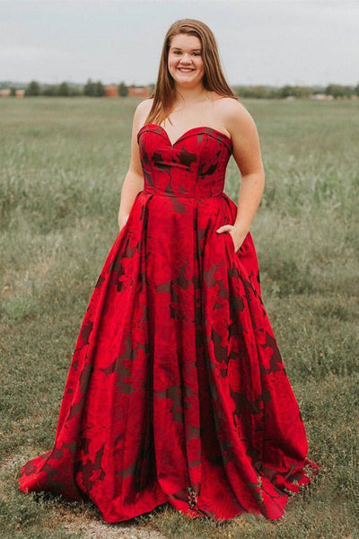 New Arrival Burgundy Sweetheart Floral Long Prom Dresses with Pockets OKH67