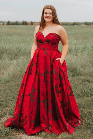 New Arrival Burgundy Sweetheart Floral Long Plus Size Prom Dresses with Pockets OKH67