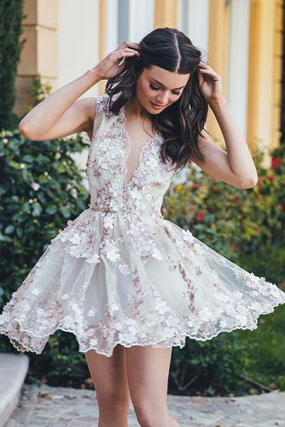 A-Line Homecoming Dress,Floral Homecoming Dresses,V-Neck Sleeveless Homecoming Dresses, Short Homecoming Dress,White Homecoming Dresses,Tulle Homecoming Dress with Appliques,Homecoming Dress