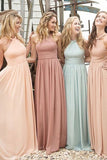 Beautiful Long Chiffon A Line Cheap Bridesmaid Dresses 2017 for Weddings OK111