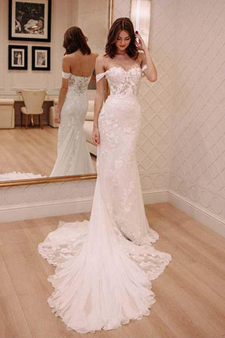 Princess Off Shoulder Court Train Chiffon Long Wedding Dress with Lace Appliques OKA51