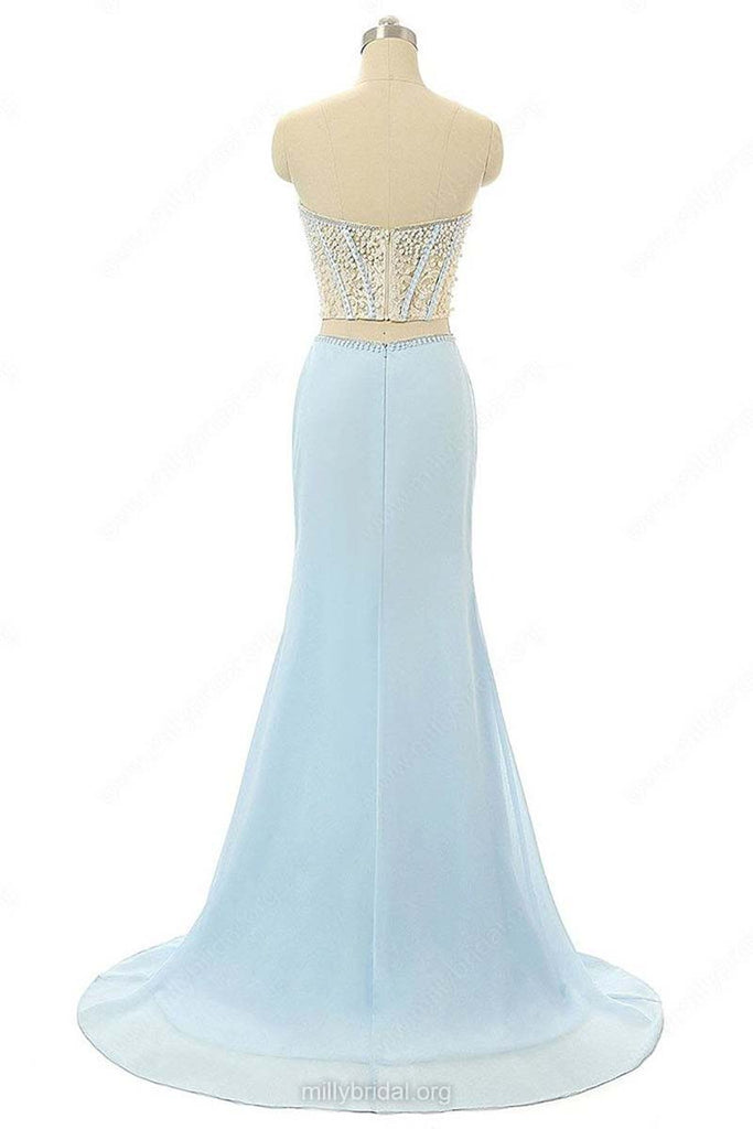 Elegant Mermaid Sweetheart Chiffon Sweep Train Split Front Light Sky Blue Prom Dresses OK621