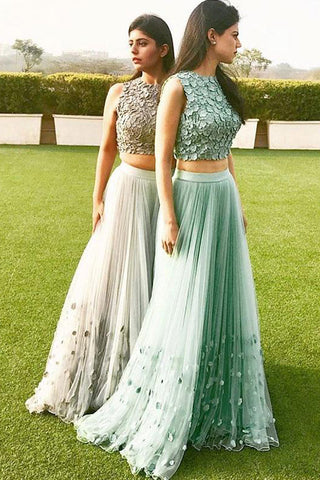 Elegant Prom Dresses,A-line Prom Gown,Tulle Evening Dress,Two Pieces Prom Dress,Cheap Formal Dress