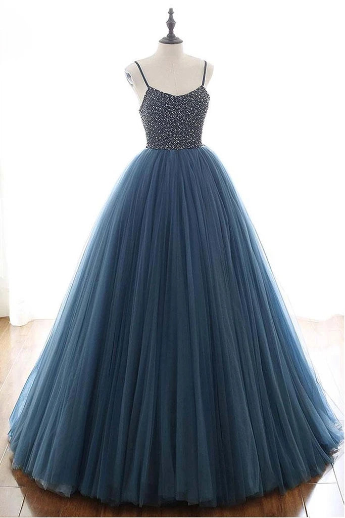 Ball Gown Blue Tulle Spaghetti Straps Prom Dress Evening Dress With Beading OKU4