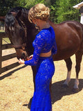 Elegant Sheath Scoop Neck Lace Beading Royal Blue Long Sleeve Two Piece Prom Dresses OK611