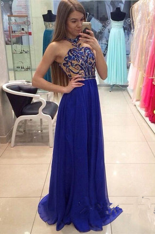 Royal Blue Long Beaded Halter Handmade Chiffon Prom Dresses K634
