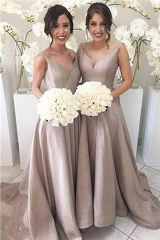 Simple V-neck Cheap Plus Size Handmade A-line Bridesmaid Dresses K637